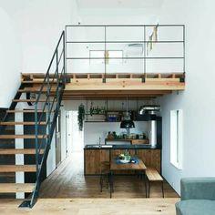 Tiny Loft, Tiny House Loft, Tiny House Living, Loft Home, Loft House Design, Small House Interior Design, Loft Apartment Decorating, Apartment Design, Small Loft Apartments