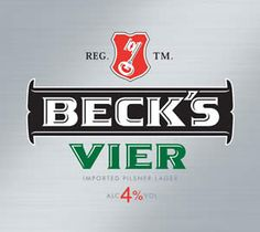 BRAUEREI BECK & CO'S BECKS VIER - lager brewed in Germany predominately for the British market. Brewed with only four ingredients; water, barley, hops and yeast to the same standards as the normal Becks lager but only 4% ABV making it a session beer. Vier is German for four.