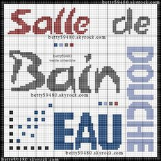 salle de bains - bathroom - écriture - point de croix-cross stitch - broderie-embroidery- Blog : http://broderiemimie44.canalblog.com/