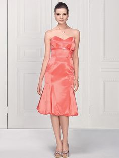 Trumpet/Mermaid Sweetheart Satin Knee-length Sleeveless Bow Party Dresses at sweetquinceaneradress.com
