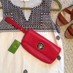 Kate Spade Wristlet Super cute with twist stud closure. Brand new! Also in perfect condition. Feel free to submit offers but if you are going to extreme low ball me do not bother this is already a deal! kate spade Bags Clutches & Wristlets