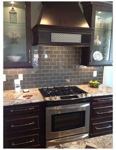Gray Kitchen Countertops, Glass Backsplash Kitchen, Backsplash With Dark Cabinets, Subway Tile Kitchen, Dark Kitchen Cabinets, Kitchen Flooring, Tile Countertops, Subway Tiles, Backsplash Ideas