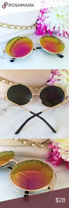 Zoë Sunglasses || Gold & Magenta Mirror Circle Description to come. Accessories Sunglasses