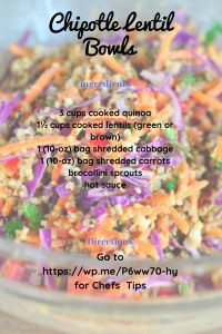Lentil Bowl | The Best Dash Diet Recipes Dash Eating Plan, Eating Plans, Dash Diet Recipes, Salad Recipes, Chipotle Ranch Dressing, 0 Bag, Shredded Carrot, How To Cook Quinoa, 4 Ingredients