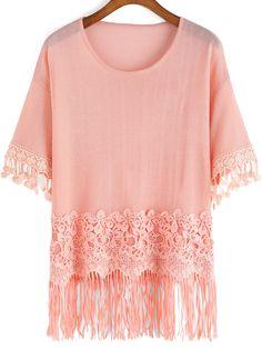 Pink Round Neck Lace Tassel Knitwear