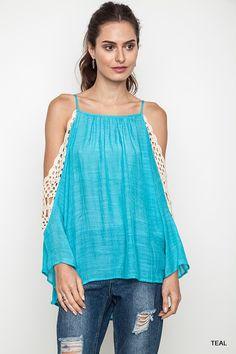 Crochet Cold Shoulder Top - Teal