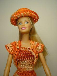 Barbie loving her little crochet outfit.