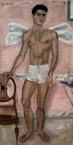 Yannis Tsarouchis, Youth dressed as Eros with dragonfly wings, Athens, 1962 Greek Paintings, Queer Art, Art Of Man, Renaissance Paintings, Portraits, Male Figure, Gay Art, Ancient Art, Figure Painting