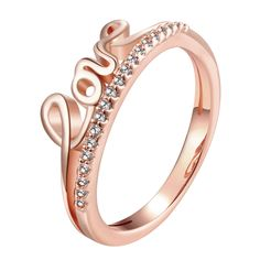 Adina R171B LOVE Zircon Pink 18K Rose Gold Plated Ring
