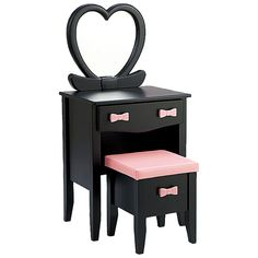 Black Dresser with Pink Bow Drawer Pull and Heart Mirror
