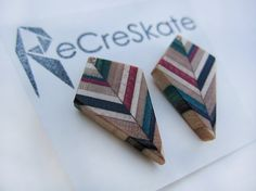 MULTICOLOR KITE recycled skateboard stud by AdrianMartinus on Etsy Wood Post, Geometric Jewelry, Kite, Skateboard, Recycling, Stud Earrings, Diy Crafts, Unique Jewelry, Handmade Gifts
