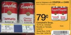 Walgreens: Campbell's Soups only $0.29 each after unadvertised Register Reward, sale and coupons! - http://www.couponaholic.net/2014/05/walgreens-campbells-soups-only-0-29-each-after-unadvertised-register-reward-sale-and-coupons/