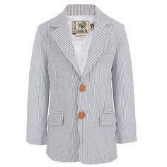 Tom & Drew Blue and White Stripe Tailored Jacket at alexandalexa.com
