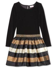 Sweet Heart Rose Drop-Waist Velvet Striped Dress, Big Girls (7-16)
