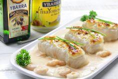 #Merluza gratinada con #bechamel de gambas. Una #cena exquisita y llena de sabor.