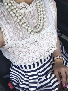 Lace top, striped skirt, three strand pearl necklace, pink bow watch, Summer outfit, Petite fashion, girly clothes, click on photo for outfit details!