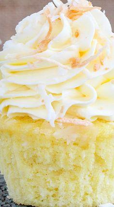 Lemon Coconut Cupcakes (Italian Meringue Buttercream)