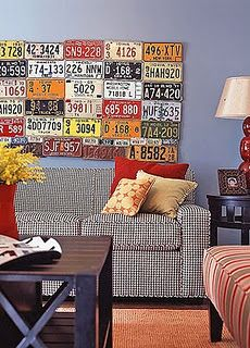 DIY - vintage license plates - boys room (?)