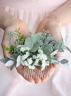 This comb is now featured in BRIDES.com!! This seeded eucalyptus hair comb, ivory flower hair accessory, bridal floral comb, boho festival floral detail, features ivory natural and dried flowers, natural and preserved seeded eucalyptus, faux succulents for added texture and visual