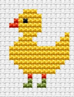 Easy Peasy Duck cross stitch kit [EP-DK] Ideal for beginners however please ensure young stitchers are supervised. Finished size approx x Kit contains Binca white aida fabric, stranded embroidery cotton, needle, colour chart and instructi Easy Cross Stitch Patterns, Cat Cross Stitches, Cross Stitch For Kids, Cross Stitch Cards, Simple Cross Stitch, Cross Stitch Baby, Cross Stitch Animals, Counted Cross Stitch Kits, Cross Stitch Designs