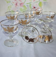 Stunning, Vintage Libbey, Gold Leaves, Tall Sherbet, Champagne Glasses, Set of 8