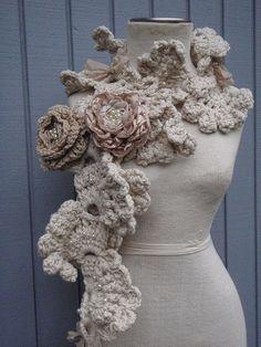 Écharpe au crochet large écharpe blanche longue écharpe par deniz03