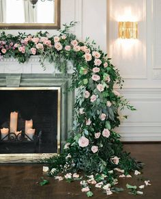 A garland of greenery and pale pink roses draped over a fireplace mantle serves as a dreamy backdrop- the perfect setting for Wedding Reception Flowers, Blush Wedding Flowers, Wedding Ceremony Backdrop, Ceremony Decorations, Flower Bouquet Wedding, Floral Wedding, Garland Wedding, Plum Wedding, Bride Bouquets