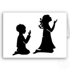 Praying Children in Silhouette