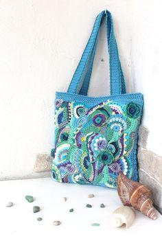 Spring water. Bag crocheted summer / beach cotton, freeform bag, blue green