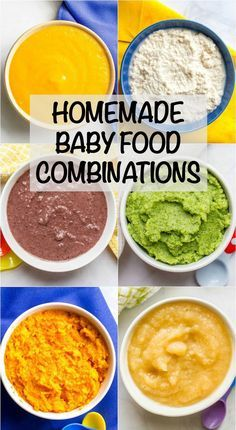 Tons of ideas for easy homemade baby food combinations, both the basics for begi. - Tons of ideas for easy homemade baby food combinations, both the basics for beginners and more inte - Baby Puree Recipes, Pureed Food Recipes, Healthy Baby Food, Food Baby, Avocado Baby Food, Baby Food Recipes Stage 1, Avacado For Baby, Peas Baby Food, Carrot Baby Food