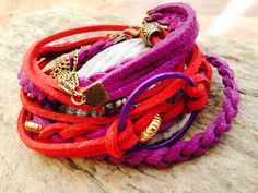 Pink, Red and Purple Double Wrap Leather Suede Glamor Handmade Bracelet with Chain by EffyBuu on Etsy Handmade Bracelets, Handmade Gifts, Purple, Pink, Chain, Trending Outfits, Unique Jewelry, Red, Leather