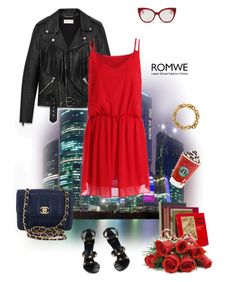 """""""Red Dress"""" by murenochek ❤ liked on Polyvore featuring Isolá, Yves Saint Laurent, Miu Miu, Tiffany & Co., Chanel, Versace, CO, red, romwe and saintlaurent"""
