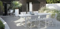 Outdoor Patio Ideas White outdoor dining set Outdoor Furniture Design, Garden Furniture Sets, Wicker Furniture, Furniture Ideas, Outdoor Dining Set, Outdoor Tables, Dining Sets, Patio Dining, Outdoor Areas
