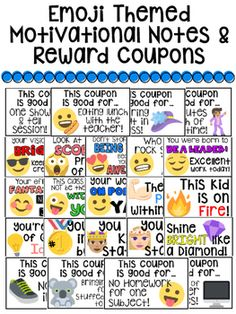 Emoji self assessment tools posters cards student response this purchase contains 24 different emoji themed motivational notes and reward coupons for intermediate grades this pack makes rewarding and complimenting fandeluxe Choice Image