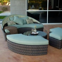 Not only does the Belham Living Rendezvous All-Weather Wicker Sectional Daybed make your outdoor seating area look exactly like a page out of a home. Patio Lounge Chairs, Outdoor Chairs, Furniture Decor, Outdoor Furniture Sets, Modern Furniture, Round Beds, Outdoor Seating Areas, Outdoor Spaces, Outdoor Living