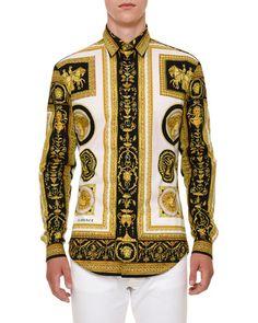 VERSACE ARCHIVE FRAME COTTON SPORT SHIRT. #versace #cloth #