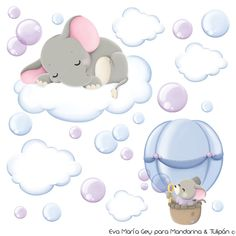 Cute mouse in a hot air balloon blowing bubbles & an elephant sleeping on a cloud Elephant Nursery, Baby Elephant, Elephant Illustration, Baby Shawer, Blowing Bubbles, Wall Drawing, Baby Prints, Baby Animals, Children