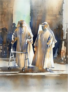Election Day - Girona by Thomas W. Schaller Watercolor ~ 22 inches x 15 inches