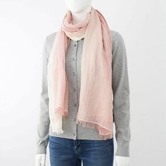 COTTON LINEN STOLE (GRADATION), PINK, large