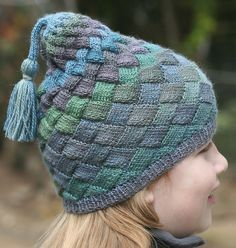 Checkered Chess Champ Entrelac Hat pattern by Carol Wells in Sausalito by Crystal Palace Yarns