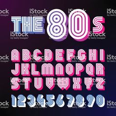 Eighties style retro font. font design with shadow, disco style, alphabet and 1980s Font, Police Logo, Typographie Fonts, Eighties Style, Aesthetic Fonts, Vaporwave, Retro Font, Graffiti Lettering, Alphabet And Numbers