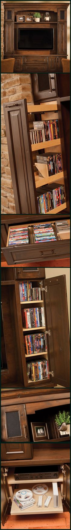 Think out of the box and design an Entertainment Center with storage for your whole family! Surround system & Speaker storage, game system roll-out shelves, pull-out media organizers, DVD & CD drawers, decorative storage, and so much more! - Dura Supreme Cabinetry