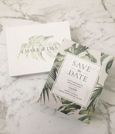 Tropical Leaf Invitation | Tropical Save the Date | Monstera Leaf Invitation | Palm Leaf | Envelope Printing