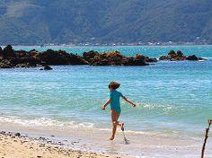 Enjoying the surf at Scorching Bay - Wellington
