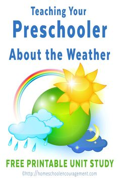 Teaching your Preschooler about Weather: Homeschool Preschool free Weather Unit Study Weather Activities for Kids Preschool Themes, Preschool Science, Preschool Lessons, Preschool At Home, Preschool Kindergarten, Preschool Learning, Preschool Curriculum Free, Science Classroom, Preschool Art Centers