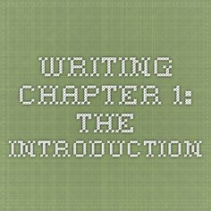 How to write dissertation chapter 1