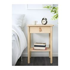 IKEA - HEMNES, Bedside table, white stain, Smooth running drawer with pull-out stop. Made of solid wood, which is a hardwearing and warm natural material. Combines with other furniture in the HEMNES series. White Nightstand, Wood Nightstand, Bedroom Decor On A Budget, Home Decor Bedroom, Ikea Bedroom, Bedroom Sets, Ikea Furniture, Bedroom Furniture, Rv Storage