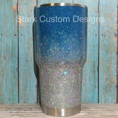 Teal and Silver Ombre Glitter Tumbler - Yeti, Rtic, or Ozark - 30 oz. or 20 oz. by StarkCustomDesigns on Etsy