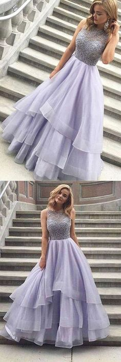 A-line Scoop Floor-length Long Prom Dress Evening Dress #shortpromdresses