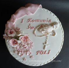 Torty moja pasja: Tort z dłońmi i różańcem na Pierwszą Komunię Poli